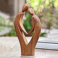 Wood statuette, 'Commitment' - Hand Carved Suar Wood Couple Sculpture