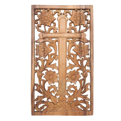 Suar Wood Floral Cross Relief Panel