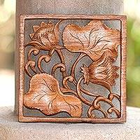 Wood relief wall panel 'Flower Alive' - Lotus Flower Wood Relief Wall Panel