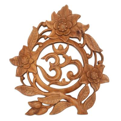 Wood relief panel, 'Ong-Kara Word' - Hand Carved Suar Wood Relief Panel Om