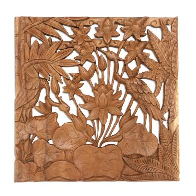 Wood relief panel, 'Crane House' - Crane Suar Wood Hand Carved Relief Panel