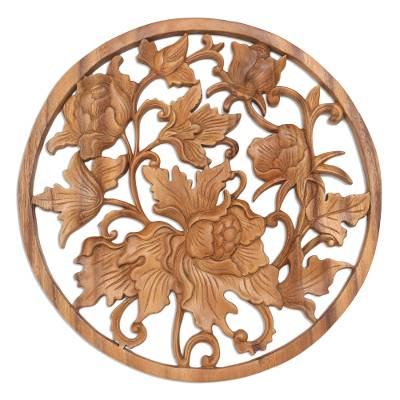 Wood relief panel, 'Powerful Flower' - Suar Wood Flower Round Relief Panel