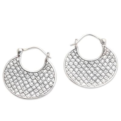 Sterling Silver Hoop Earrings Dragon Skin