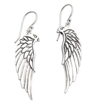 Hand Crafted Sterling Silver Eagle Dangle Earrings