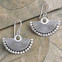 Sterling silver dangle earrings, 'Elegant Fan' - Hand Crafted Sterling Silver Dangle Earrings