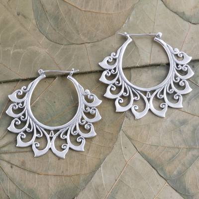 Sterling silver hoop earrings, 'Polished Flower' - Hand Made Sterling Silver Hoop Earrings