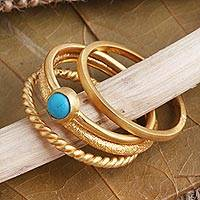 Gold plated stacking rings, 'Align' (set of 4) - 14k Gold Plated Stacking Rings (set of 4)