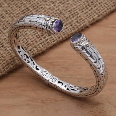 Amethyst cuff bracelet, 'Endeavor' - Hand Crafted Amethyst and Silver Cuff Bracelet