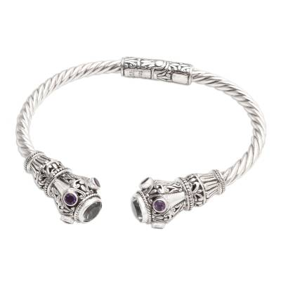 Amethyst-Accented Prasiolite Cuff Bracelet