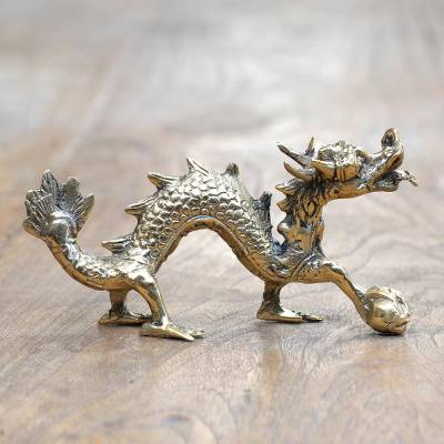 Brass statuette, 'Dragon Walking' - Hand Crafted Brass Dragon Statuette