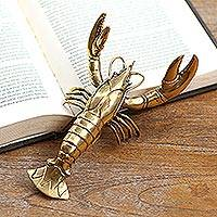Brass statuette, 'Lobster Companion' - Hand Made Antique Finish Brass Lobster Statuette