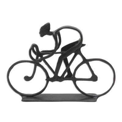 Hand Cast Bronze Bicyclist Sculpture