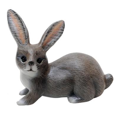 Wood figurine, 'Wise Rabbit in Grey' - Hand Painted Suar Wood Rabbit Figurine