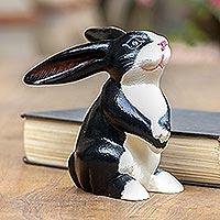 Wood sculpture, 'Adorable Tuxedo Rabbit'