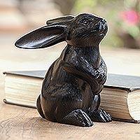 Wood sculpture, 'Adorable Rabbit in Black' - Black Rabbit Statuette from Bali