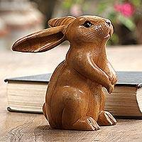 Wood sculpture, 'Adorable Rabbit in Brown' - Handmade Brown Bunny Sculpture