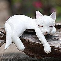 Wood statuette, 'Lounging Cat in White' - Hand Carved Suar Wood Cat Statuette