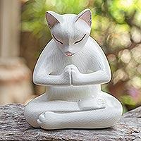 Wood statuette, 'Grateful Cat in White' - Hand Carved Suar Wood Cat Statuette