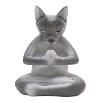 Hand Carved Suar Wood Cat Statuette