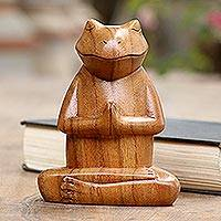 Wood statuette, 'Deep in Meditation' - Hand Carved Suar Wood Frog Statuette