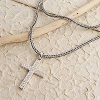 Sterling silver pendant necklace, 'Captivating Cross' - Hammered High Polish Sterling Silver Cross Pendant Necklace