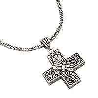 Sterling silver pendant necklace, 'Petite Cross'