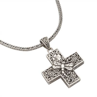 Sterling silver pendant necklace, 'Petite Cross' - Oxidized Sterling Silver Petite Cross Pendant Necklace