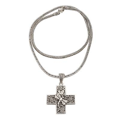 Sterling silver pendant necklace, 'Petite Cross' - Oxidized Sterling Silver Petite Cross Pendant Necklace