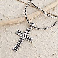 Sterling silver pendant necklace, 'Woven Cross' - Oxidized Sterling Silver Basketweave Cross Pendant Necklace
