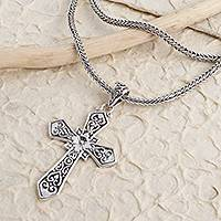 Sterling silver pendant necklace, 'Cross Your Heart' - Balinese Sterling Silver Cross Pendant Necklace