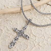 Sterling silver cross pendant necklace, 'Blossoming Reverence' - Oxidized Sterling Silver Cross Pendant Necklace