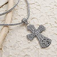 Sterling silver cross pendant necklace, 'Modern Faith' - Oxidized Sterling Silver Cross Pendant Necklace