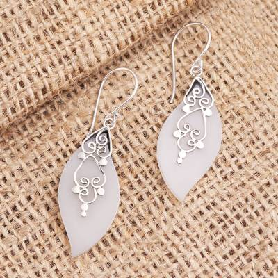 Sterling silver dangle earrings, 'Frosty Leaves' - Sterling Silver and Resin Leaf Dangle Earrings