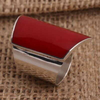 Sterling silver cocktail ring, 'Trapeze in Red' - Red Resin and Sterling Silver Chunky Cocktail Ring