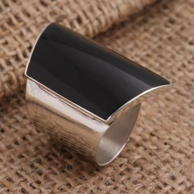 Sterling silver cocktail ring, 'Trapeze in Black' - Black Resin and Sterling Silver Chunky Cocktail Ring