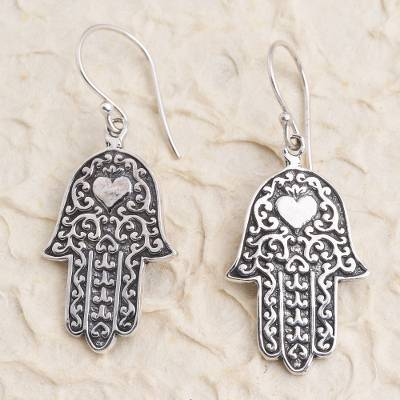 Sterling silver dangle earrings, 'Hamsa Hands' - Hand Made Sterling Silver Dangle Earrings