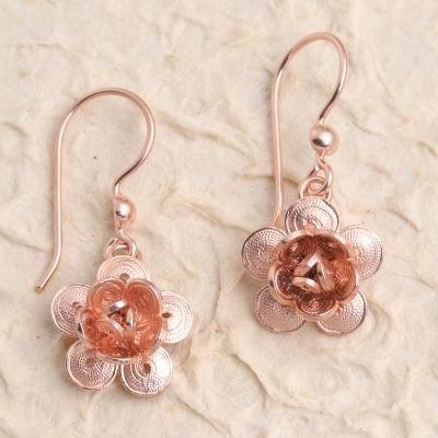 Rose gold plated filigree dangle earrings, 'Lucky Blossom' - Hand Crafted Rose Gold Plated Flower Dangle Earrings
