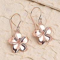 Rose gold plated dangle earrings, Pink Frangipani