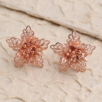 Rose gold plated filigree button earrings, Flower At Dawn