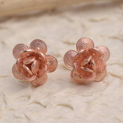Rose gold plated filigree button earrings, 'Tiny Blossoms' - Hand Made Rose Gold Plated Flower Button Earrings