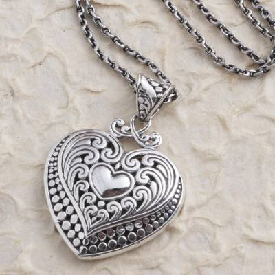 Sterling silver pendant necklace, 'Heart Inside' - Artisan Made Sterling Silver Heart Pendant Necklace