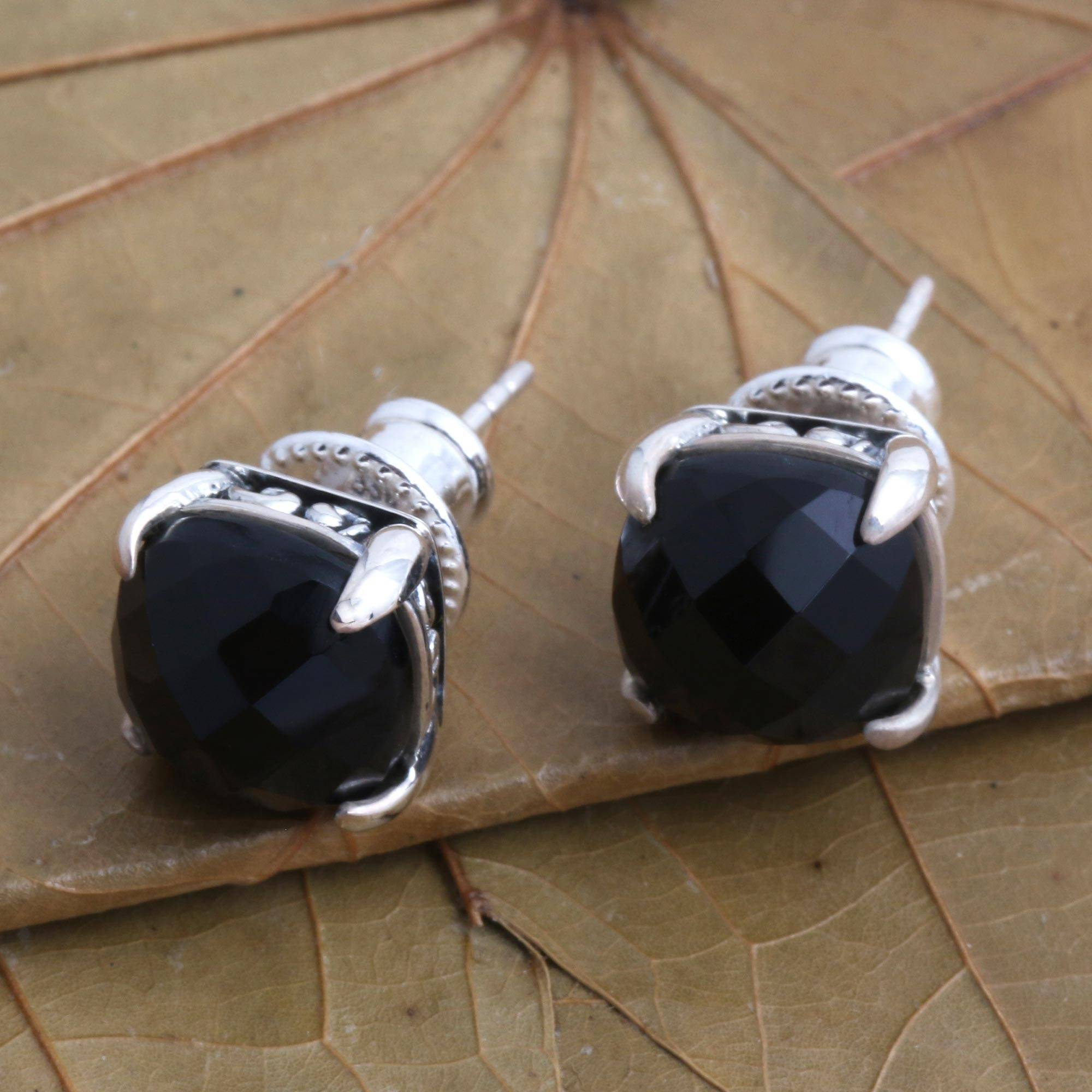 Sterling Silver Post Earrings with Black and Clear Faceted Stones