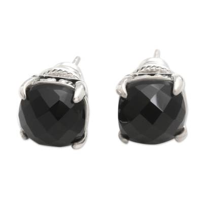 Onyx stud earrings, 'Dressed for Dinner in Black' - Checkerboard Faceted Black Onyx Stud Earrings