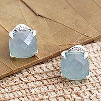Chalcedony stud earrings, 'Dressed for Dinner in Aqua' - Checkerboard Faceted Chalcedony Stud Earrings