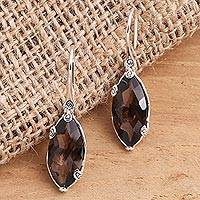 Smoky quartz drop earrings, 'Nepenthes in Brown' - Checkerboard Faceted Smoky Quartz Drop Earrings