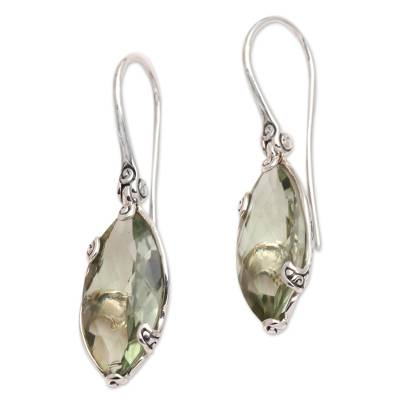 Prasiolite drop earrings, 'Nepenthes in Green' - Checkerboard Faceted Prasiolite Drop Earrings