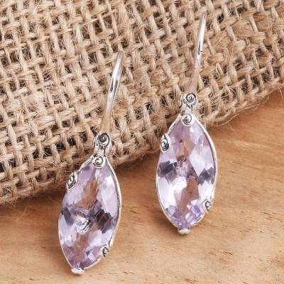 Smoky quartz drop earrings, 'Nepenthes in Lilac' - Checkerboard Faceted Amethyst Drop Earrings