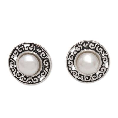 Cultured pearl button earrings, 'Sacred Halo' - Cultured Freshwater Pearl Sterling Silver Button Earrings