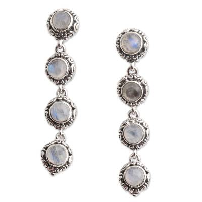 Rainbow moonstone dangle earrings, 'Precious Rain' - Sterling Silver Rainbow Moonstone Dangle Earrings