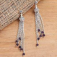 Amethyst bead waterfall earrings, 'Raining Violets' - Balinese Sterling Silver Waterfall Earrings with Amethysts